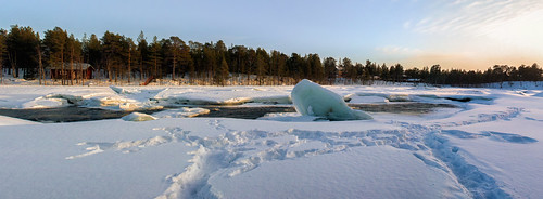 sunset panorama snow finland frozen nikon europe inari rapids finnishlapland northernfinland d700 autopanogiga riverjuutua