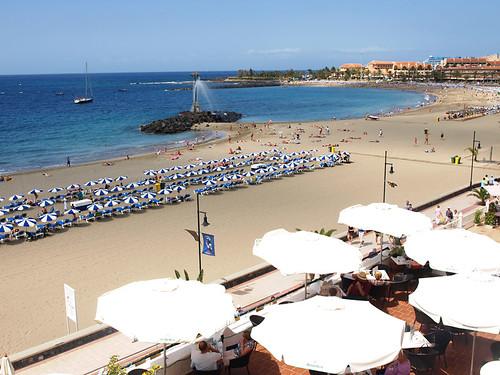 Sunbeds on Playa de las Vistas, Los Cristianos, Tenerife