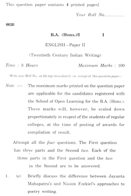 DU SOL B.A. (Hons.) ENG Question Paper - Twentieth Century India Writing - Paper II