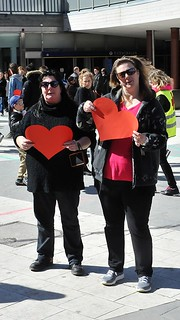 Ladies with red paper hearts