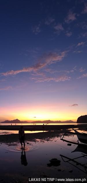 Vertical Panoramic Photo of the Sunset at Corong-Corong Beach in El Nido, Palawan