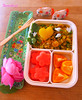 curried rice, sweet fruit bento