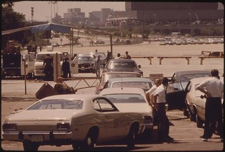 Motorists Wait In Line At Soldier's Field, One Of Nine Auto Pollution Test Sites Conducted Free By The City Of Chicago's Environmental Control Department, 08/1973