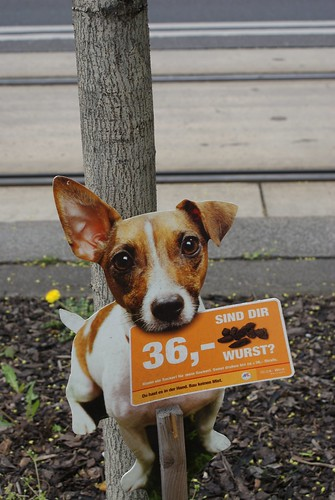 """Are we sausages to you?"" Pick up your dog poo or it's a 36 euro fine."