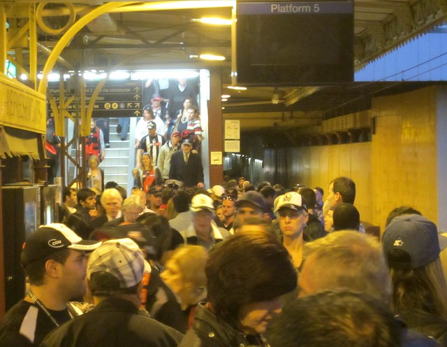 Platform 5 at Flinders St after ANZAC Day football