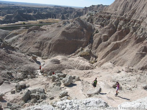 Climbing down from Saddle Pass, Badlands National Park, South Dakota