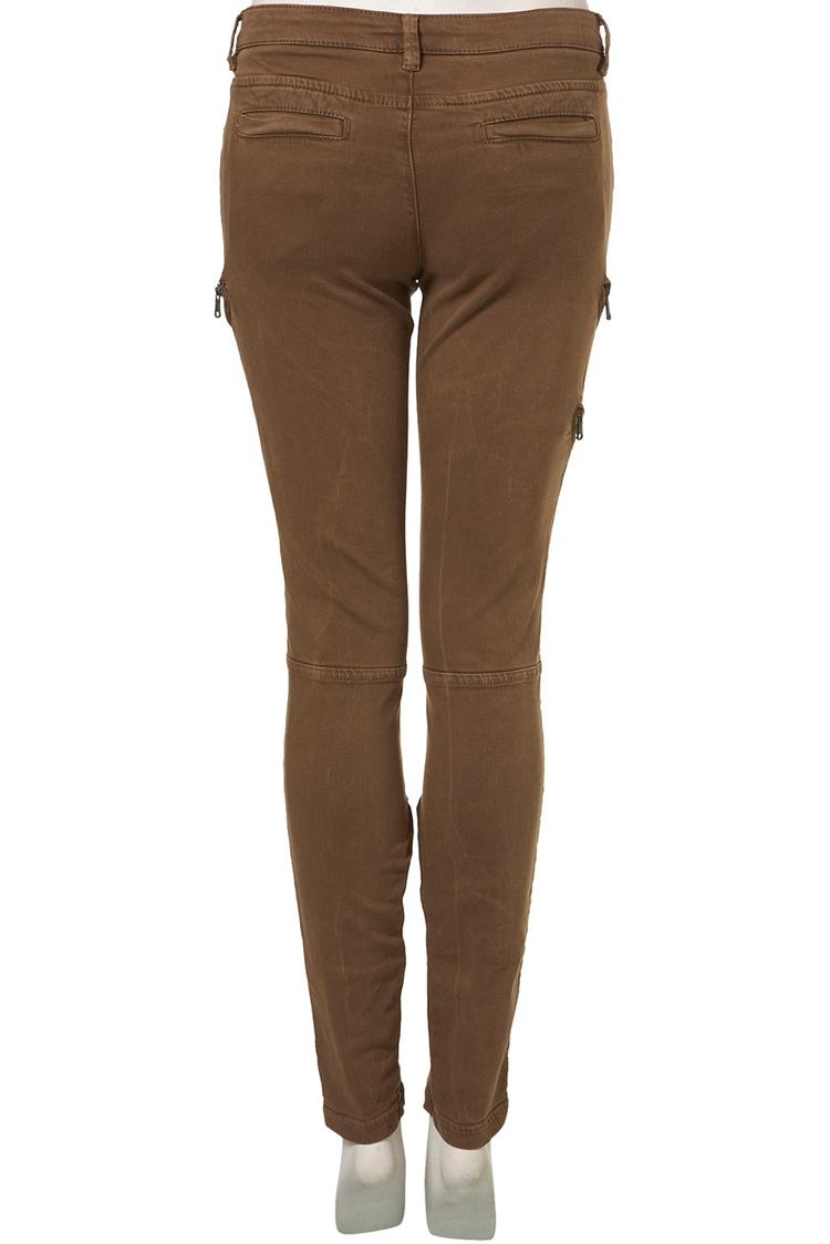 Topshop Petite Dark Tan Biker Skinny Trousers
