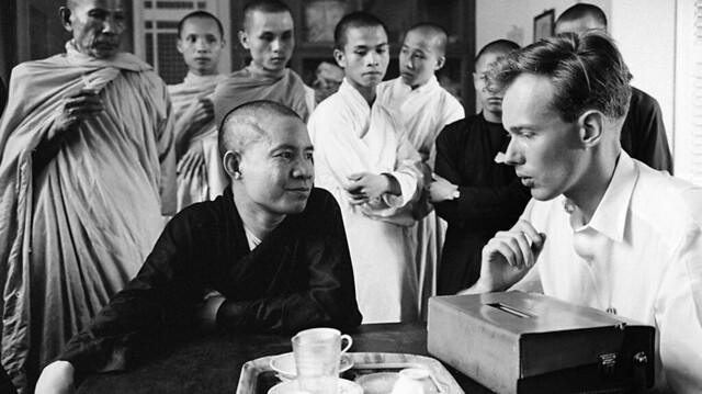 AP Saigon correspondent Malcolm Browne interviews Quang Lien, leading spokesman for the Xa Loi Buddhist pagoda in Saigon. June 27, 1963 file photo.