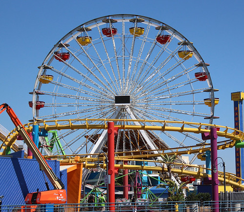Pacific Park ferris wheel on the Santa Monica Pier in Santa Monica, California