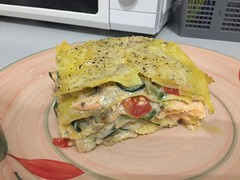 Kitchen is for experimenting - salmon zucchini Parmesan lasagna.