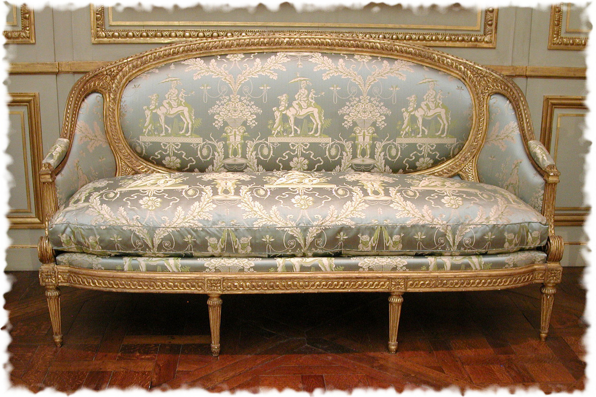 1770 Sofa. French. Carved and gilded mahogany, modern silk damask. metmuseum