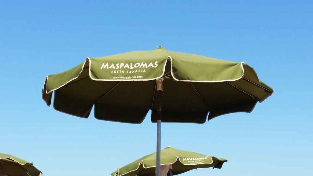 Prasols on the beach of Maspalomas on Gran Canaria