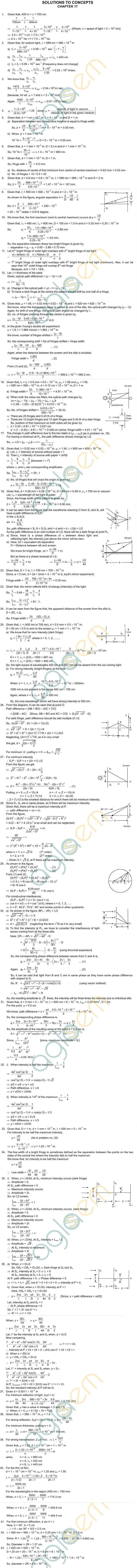 HC Verma Solutions: Chapter 17 - Light Waves