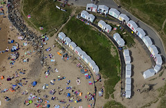 Beach huts on Bude beach in Cornwall - aerial image