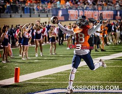 Brandeis' Cortez Terrell (18) celebrates scoring a touchdown against Taft at Farris Stadium on Friday, September 30, 2016. It was the homecoming game for Brandeis. Broncos defeated Raiders 52-17. #ok3sports #txhsfb #nikonphotography #sportsphotography