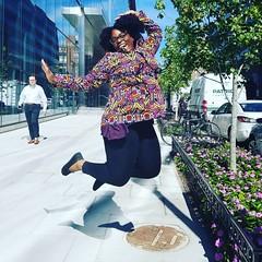 Jumping for #sewing joy in my brand new @closetcasefiles #kellyanorak Sorry random man, but I'm living my life!   #memadeeveryday #happiness #fallfashion