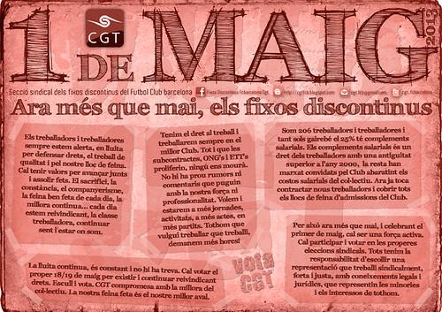 1 maig cgt fc barcelona ara més que mai els fixos discontinus