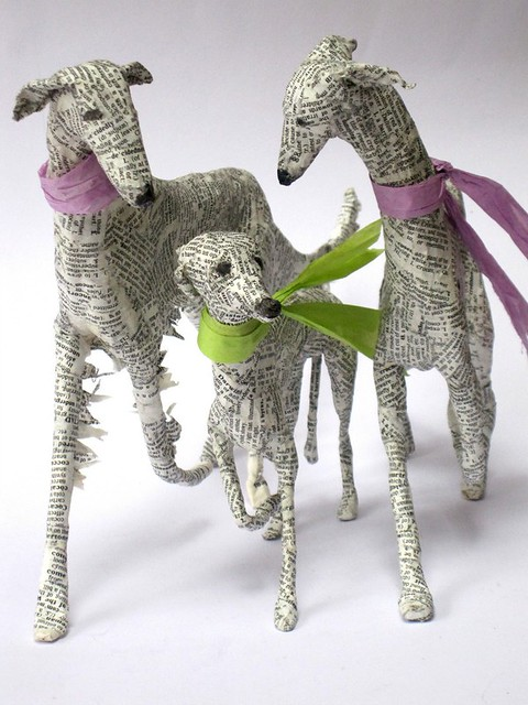 paper mache dog sculptures by Lorraine Corrigan