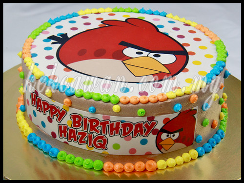 Birthday Cake with Angry Bird Edible Image