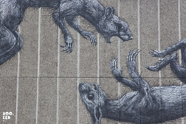 Close up of ROA's South Bank Centre Mural in London.