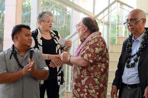 <p>Governor Abercrombie and I prepare to thank outgoing Regents Mike Dahilig and Judge Artemio Baxa at a reception at Bachman Hall Thursday evening.</p>