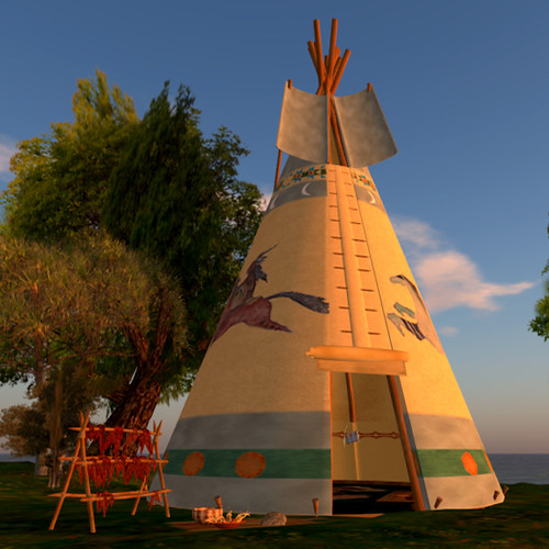 Running Horses Native American Teepee by Teal Freenote