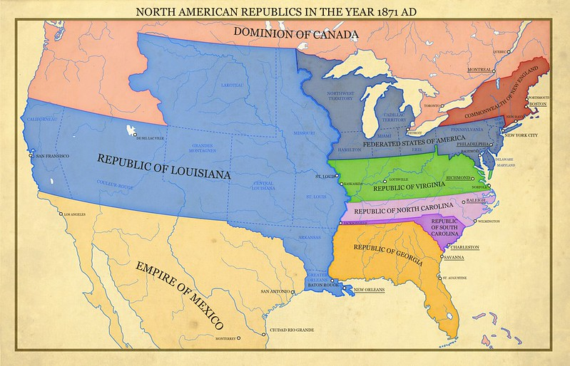 Making Alternate History Map of North America in a US