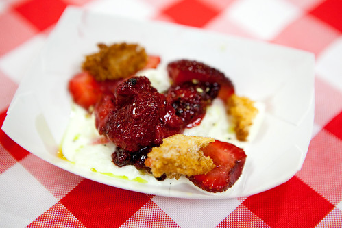 Chef Brooks Headley of Del Posto: Burrata, olive oil and three types of strawberries