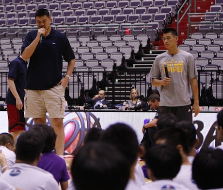 October 12th, 2013 - Yao Ming and Jeremy Lin speak to Special Olympics athletes in Taiwan, Taipei