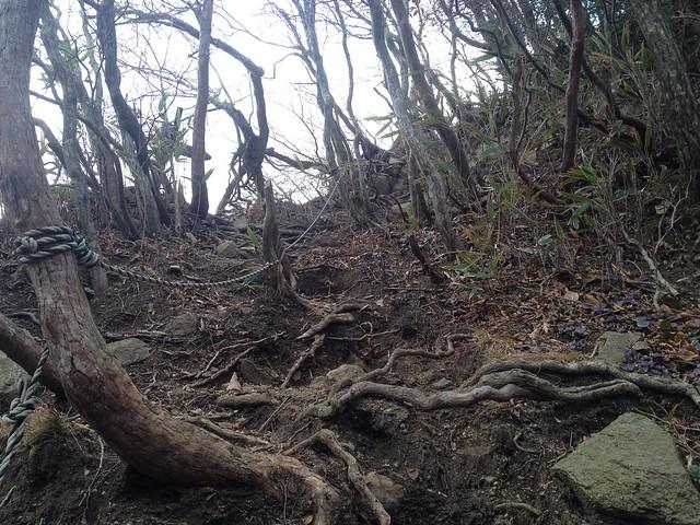 鎌ヶ岳 雲母峰-鎌ヶ岳登山道 白ハゲ後の急登