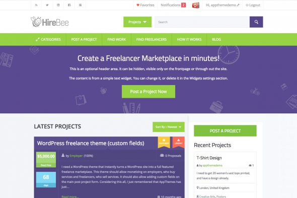 AppThemes HireBee v1.4.1 – WordPress freelance marketplace theme