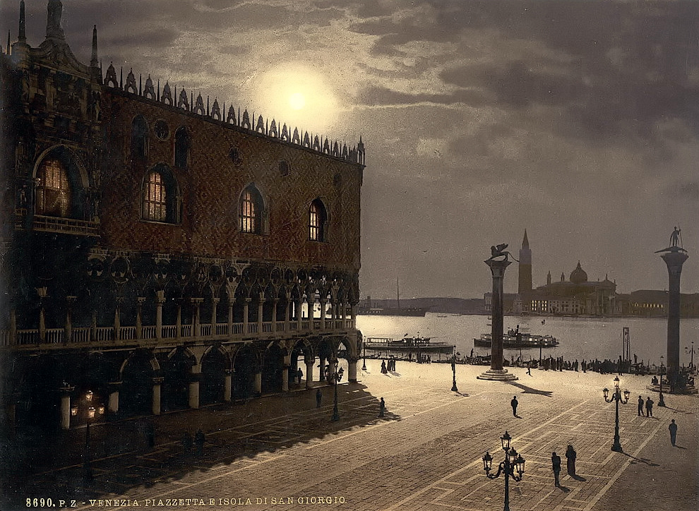 Piazzetta and San Georgio by moonlight, Venice, Italy
