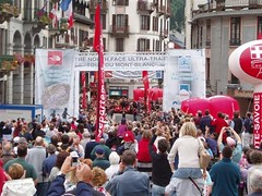 The Winner of The North Face Ultra Trail Event coming into Chamonix Image