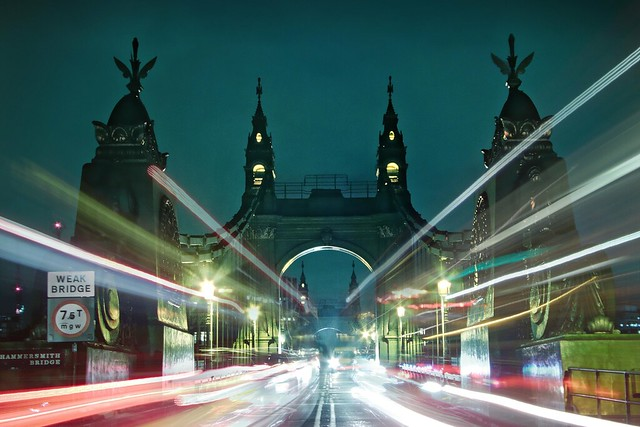 Hammersmith bridge and bus light streaks
