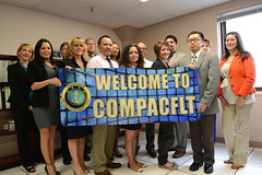 Personnel from the Commander, Pacific Fleet Human Resources Office celebrate the opening of their new office in San Diego at Navy Region Southwest headquarters, April 22. (U.S. Navy photo by Mass Communication Specialist 1st Class William Larned)