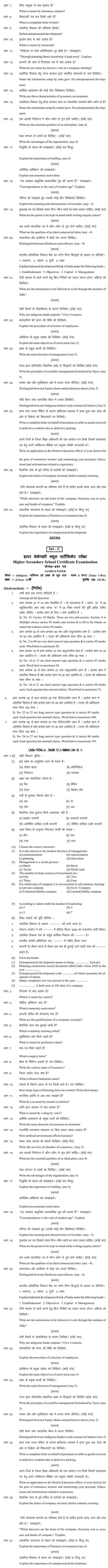 Chattisgarh Board Class 12 Commerce and Management Basics (Vanijya evam prabandh ke mool tatva)Sample Paper