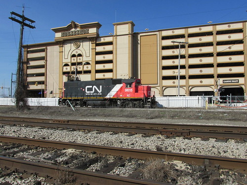 Canadian National locomotive running light past the Horseshoe Casino.  Hammond Indiana.  Sunday, April 21st, 2013. by Eddie from Chicago