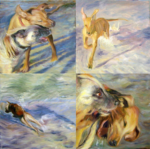"""Henry at the dog beach"" Oil by Ako Lamble"
