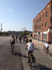 Riding on York Blvd on Brewery Ride tour of businesses