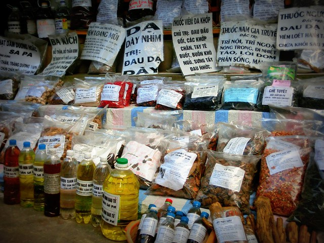 Spices and medicinal herbs at the market in Vietnam