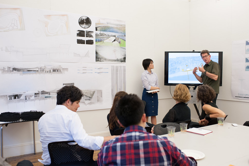AAP NYC executive director Bob Balder discusses M.Arch. student Lily Chung's project.