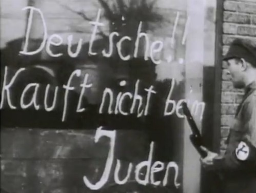 Anti-Jewish graffiti on a shop window in Germany