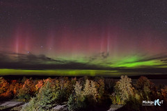 Northern Lights ( aurora borealis) over Grand Island in Michigan's Upper Peninsula by Michigan Nut