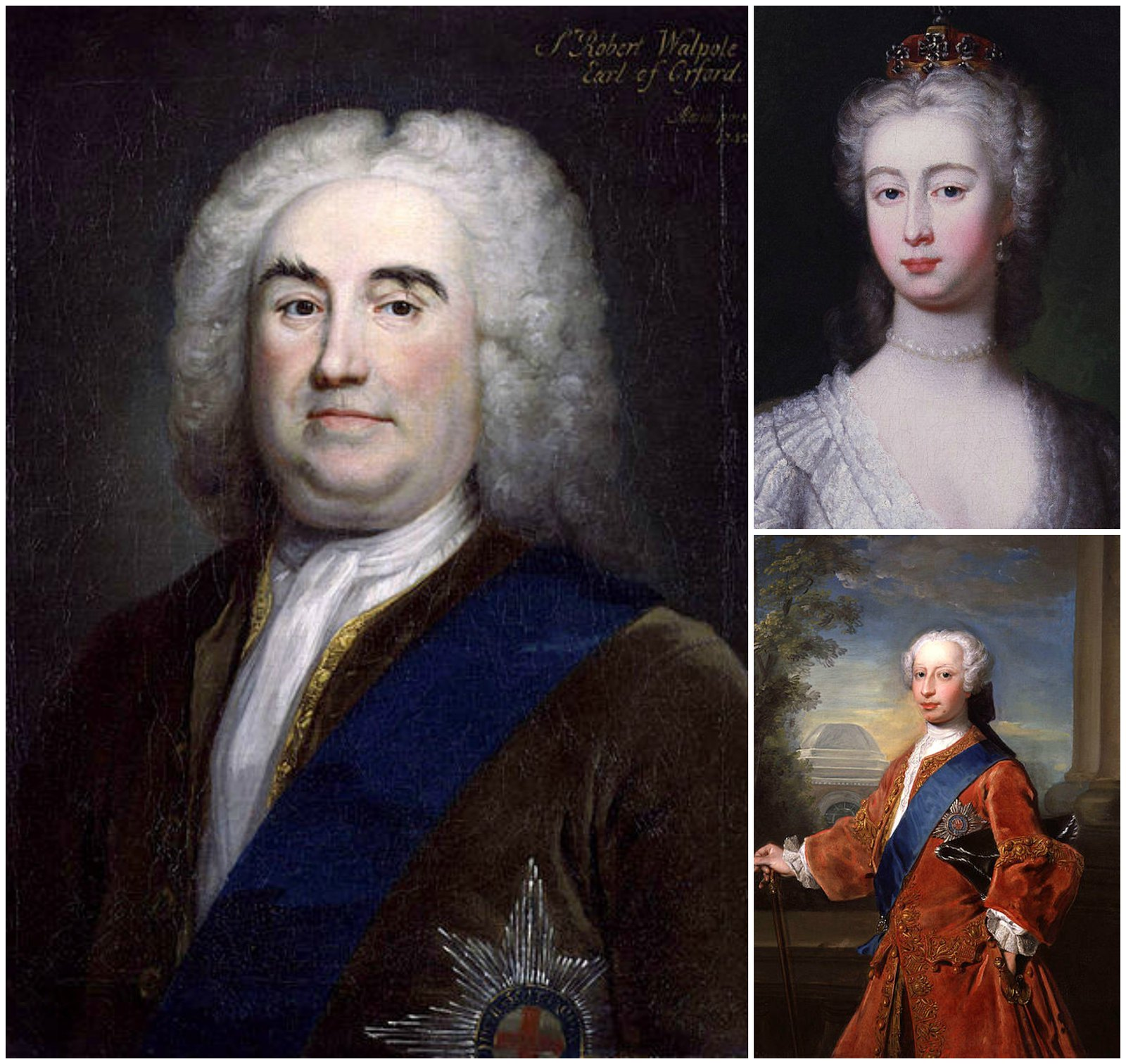 Robert Walpole, 1st Earl of Orford and Prime Minister of Great Britain (left) preferred Augusta of Saxe-Gotha (top right) as a match for Frederick, Prince of Wales (lower right)