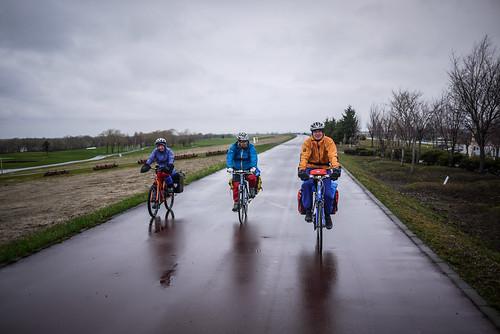Cycling along the New Shinotsu Golf Course cycling road (Ishikari River, Shinshinotsu Town, Japan)