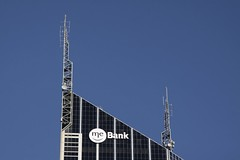 Completed 'ME Bank' sign atop Melbourne Central Tower