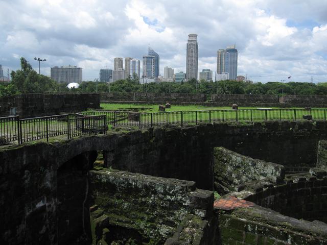 View of modern Manila from Intramuros