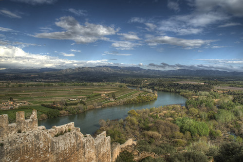 blue sky plants mountain mountains water stone wall clouds rural river reeds landscape geotagged nikon view horizon meadows vegetation fields ebro range hdr agricultural ebre riberadebre d80 marcelgermain castelldemiravet
