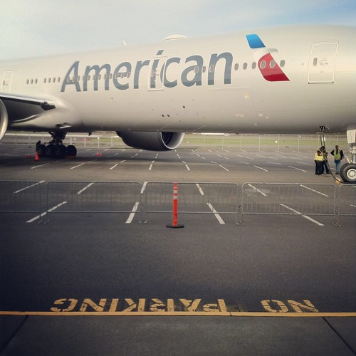 New American Airlines 777-300ER parked at the Museum of Flight