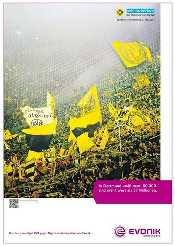 Werbung von Evonik zu Borussia Dortmund (BVB): In Dortmund weiß man: 80.000 sind mehr wert als 37 Millionen.